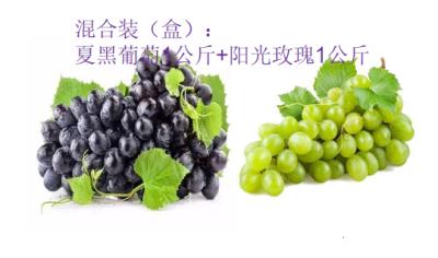 弥渡夏黑葡萄1kg+阳光玫瑰1kg混合装预售(500g*4盒),7月1日发货恢复原价